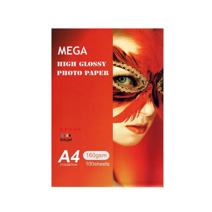 کاغذ فتو گلاسه براق 160 گرم A4 مگا 100 برگی