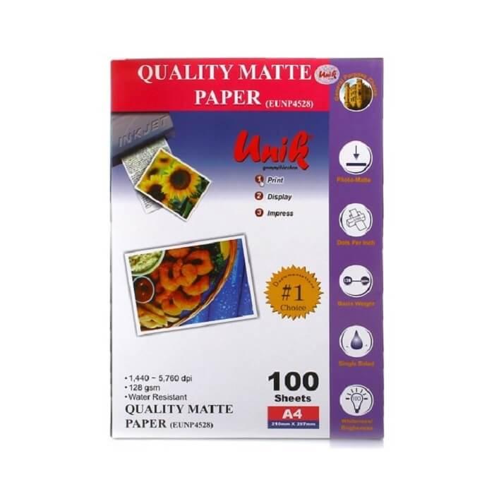 کاغذ کوتد 128 گرمی یونیک سایز A4