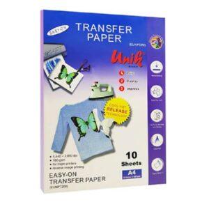 کاغذ چاپ تیشرت روشن 150 گرم یونیک سایز A4