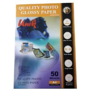 کاغذ فتو گلاسه براق 260 گرم یونیک سایز A4