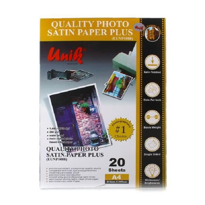 کاغذ فتو ساتین 260 گرم یونیک سایز A4